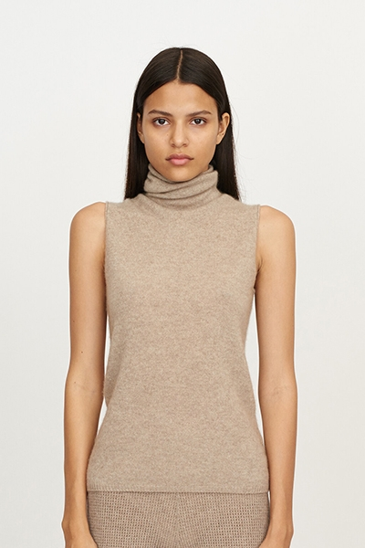 Best Ethical Cashmere Brands Mandkhai Sleeveless Roll Neck Cashmere