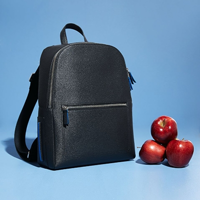 10 Questions for Jessica Kruger LUXTRA London Vegan handbags Apple leather backpack