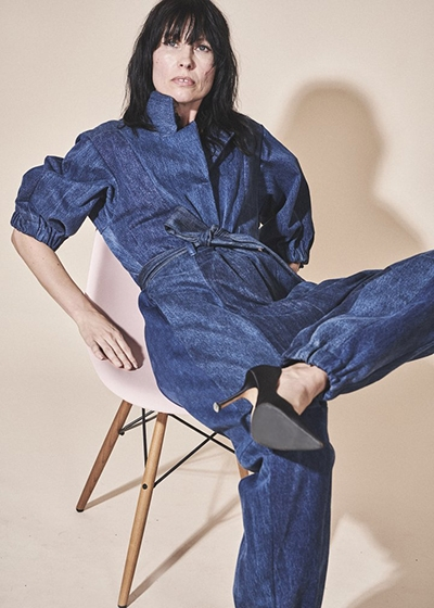 10 Questions for E.L.V. DENIM Founder Anna Foster Upcycled Denim Jumpsuit