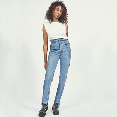 10 Questions for E.L.V. DENIM Founder Anna Foster Upcycled Straight Leg Jeans