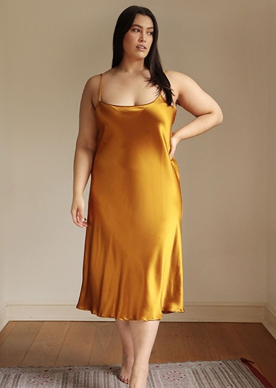 Size Inclusive Brands With The Planet In Mind Lora Gene Extended Size Slip Dress