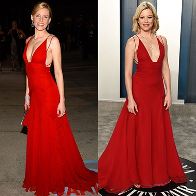 The Future of Sustainability on the red carpet Elizabeth Banks rewears Badgley Misckha Dress To 2020 Vanity Fair Oscars party