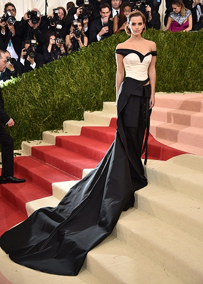 The Future of Sustainability on the red carpet Emma Watson Wears Calvin Klein Recycled PET Plastic bottle dress to 2016 MET Gala