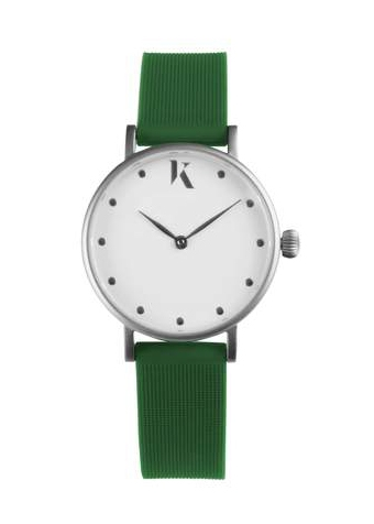 Eco Friendly Watches To Love Ksana Green and Silver Vegan watch