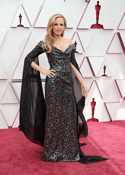 The Future of Sustainability on the red carpet Marlee Matlin wears Vivienne Westwood gown made using TENCEL Luxe and Swarovski crystals