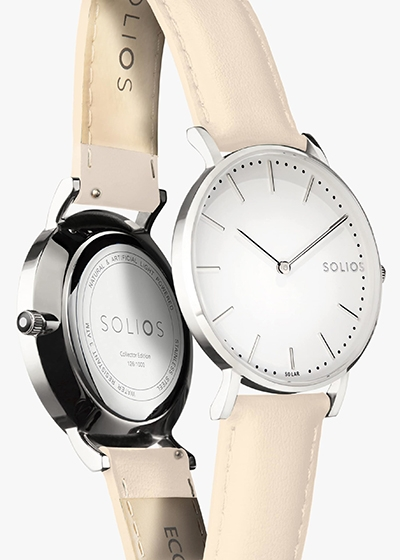 Eco Friendly Watches To Love Solios Cream Vegan Leather Watch