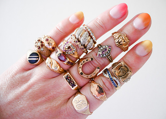 How to buy vintage and antique jewellery online Pi London Rings