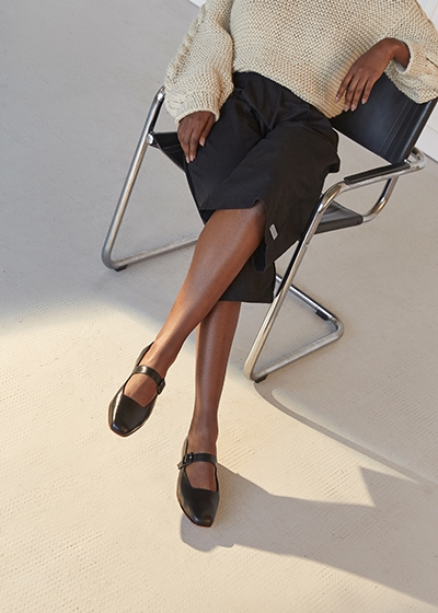 Made to order Shoes: The Sustainable Footwear To Invest In Zou Xou black leather Eugenia Flats