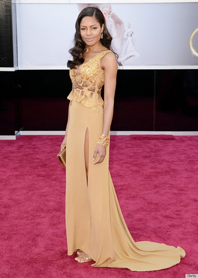 The Future of Sustainability on the red carpet Naomie Harris wears naturally dyed GOTS certified silk dress by Michael Badger for Red Carpet Green Dress to 2013 Oscars