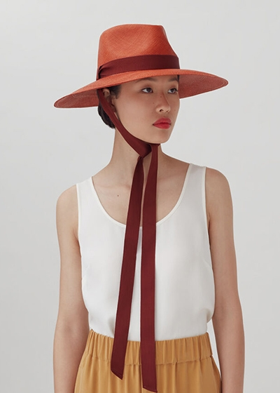Ethically Made Summer Hats Cuyana Hat with ribbons