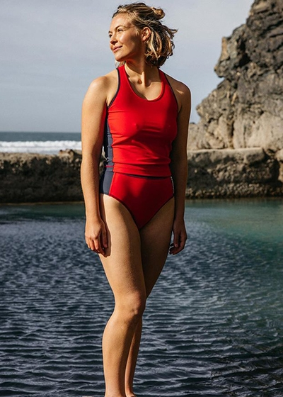 Best Active Sustainable Swimsuits Finisterre Red Zenith ECONYL Tankini Top and Bottoms