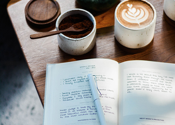 Journaling For Beginners Journal and cup of coffee