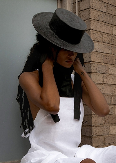 Ethically Made Summer Hats Monrowe NYC Black Bobbie Jean Panama Hat
