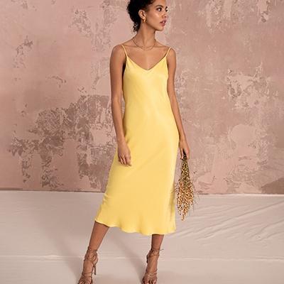 July 2021 Newsletter Nola London Yellow Slip Dress