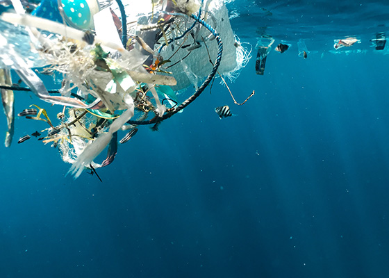 Alternatives To Plastic Bags Plastic waste floating in the ocean