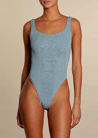 The ultimate sustainable swimsuit guide HUNZA G square neck nile swimsuit blue