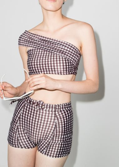 The ultimate sustainable swimsuit guide Peony Sunday ruched belted gingham print retro one shoulder bikini