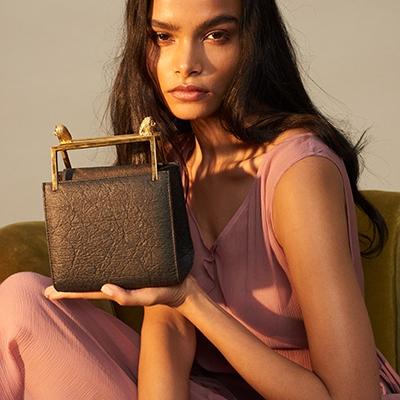 Plant Based Leather Alternative Handbags Marici The Trafalgar bag in Pinatex