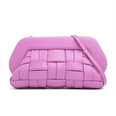 Plant Based Leather Alternative Handbags The Moirè Bio Nappa Clutch Bag Violet