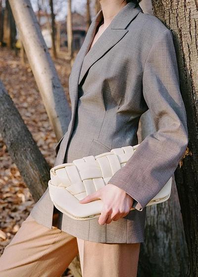 Plant Based Leather Alternative Handbags The Moirè Bio Nappa Clutch Bag